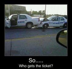 Cop car accident