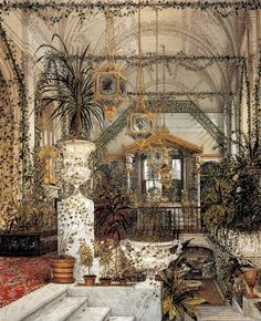 The Suite of Empress Alexandra Feodorovna at the Winter Palace in Saint Petersburg, The Small Winter Garden depicted in gouache by court painters c. 1850