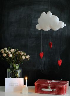 """Week 1 Craft: God """"showers"""" us with his compassion...... Could make by gluing cotton balls to paper cloud cutouts and hang hearts on string!"""