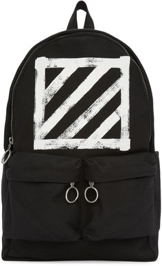 Off-White - Black Canvas Brushed Diagonals Backpack