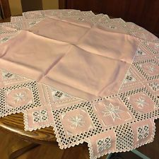 Vintage Pink Cutwork Tea Size Tablecloth with WHite Embroidery Vintage Tablecloths, Linen Tablecloth, White Embroidery, Cutwork, Vintage Pink, Decorative Boxes, Stains, Tea, Vintage Table Linens