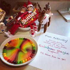 Rainbow Magic with Skittles photo credit: www.aimeejordanphotography.com #elfontheshelf