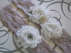 Bridal garter set, pure white and smokey silver gray chiffon flower $27