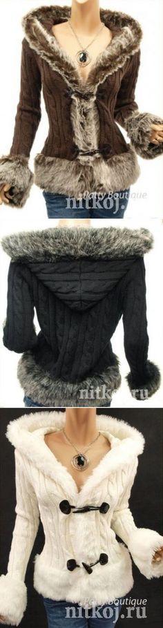Куртка спицами с капюшоном » Ниткой - вязаные вещи для вашего дома b3fc194607ad7