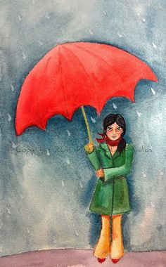 Girl Red Umbrella Rain Watercolor Art  Girl by MazzyBlueStudios, $20.00