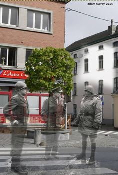 A Ghosts of History image of Patton, Eisenhower, and Bradley at Bastogne during World War II.