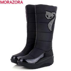 Plus size 35-44 Hot 2017 nuove Donne Inverno Stivali Cotone caldo giù scarpe stivali impermeabili neve stivali di pelliccia piattaforma stivali alti al ginocchio