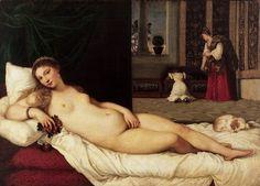 """우르비노의 비너스. 우피치미술관 소장. by 티치아노(1538)  그림의 전반적인 구도와 비너스의 자세는 조르조네의 """"잠자는 비너스""""와 상당히 유사하다. 이 작품에서 가장 흥미로운 점은 고개를 살며시 돌리고 있는 전통적인 비너스 표현과 달리, 티치아노의 비너스는 감상자들을 똑바로 응시하고 있다는 점인데, 이처럼 감상자의 시선을 자신에게 유도하는 여성의 표현은 이후의 서양 미술에서의 여성 누드 와상을 그리는 전형적인 양식이 되었으며, 그에 영향을 받은 가장 대표적인 작품으로는 """"올랭피아""""가 있다. 이러한 비너스의 시선의 변화는 이상적인 여성상에 변화가 있었음을 유추할 수 있다."""