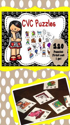 CVC short vowel puzzles in color and black white.  Self-checking literacy center, independent practice or partner group games.  Perfect phonics practice for the beginning reader Preschool, Kindergarten, First Grade!