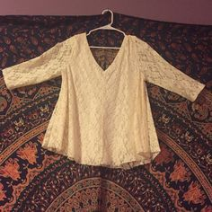 Blouse Cream lace, goes to elbows American Eagle Outfitters Tops Blouses