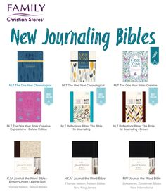 SEVERAL new journaling Bibles coming out in the next two months. Some with 2.5 inch margins, chronological Bibles, One Year Bibles (divided into 365 daily readings). So exciting to se the new zeal for God's Word.
