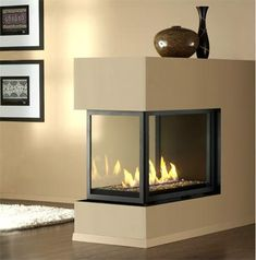 """726"""" viewing area, both sides and Available as H38-PFC Traditional fire with log set. Fireplace may be installed using Top or Rear Direct Vent flue outlet for maximum versatility."""