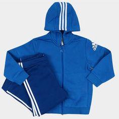 Agasalho Adidas I Sp Fz Hd c/ Capuz Infantil - Azul+Branco