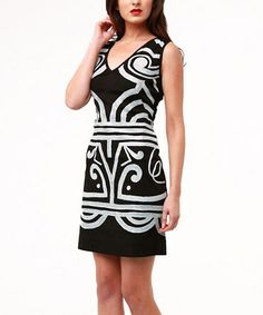 Another great find on #zulily! Black & White Tribal Opera Sleeveless Dress #zulilyfinds