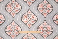 Robert Allen Kavali Ogee Printed Cotton Drapery Fabric in Persimmon