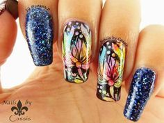 Nails by Cassis: Reverse Leadlight Flower Stamping using Pueen Enco...