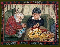 Lewis and Louisa Making Rag Rugs, by Louisa Creed.