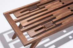 Shadow + Light: Intricately Patterned Handcrafted Wood Bench