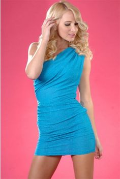 Teal one shoulder dress