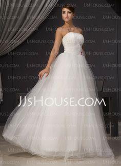 Wedding Dresses - $169.99 - A-Line/Princess Strapless Floor-Length Taffeta Satin Wedding Dresses With Ruffle (002014470) http://jjshouse.com/A-line-Princess-Strapless-Floor-length-Taffeta-Satin-Wedding-Dresses-With-Ruffle-002014470-g14470