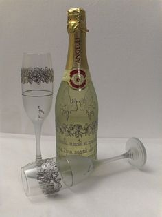 Poze Set sampanie si pahare pentru nunta de argint Argintiu Delicat