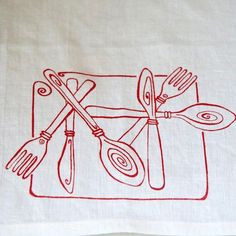 100% Linen Tea Towel   $16. If you love linen, you will love this tea towel printed with a red cutlery design. Available at: manykitchens.com