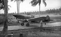 Squadron Leader Keith William 'Bluey' Truscott, Commanding Officer of 76 SQUADRON RAAF, returns from an operation and taxis his P-40 up the metal runway among Coconut Palms. Bluey Truscott became one of Australia's best-known flying aces of the Second World War. MILNE BAY, PAPUA NEW GUINEA 1942.