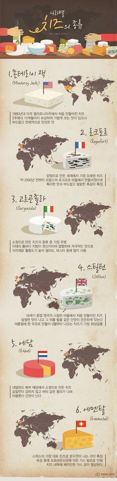 나라별 다양한 치즈 종류…내 입맛에 맞는 치즈는? [인포그래픽] #cheese / #Infographic ⓒ 비주얼다이브 무단 복사·전재·재배포 금지