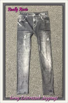 Gray Distressed Jeggings