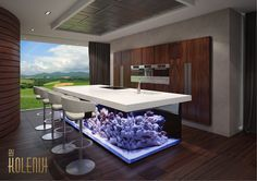 'Ocean' Kitchen by Kolenik. Applied with fully hydraulic Corian worktop.