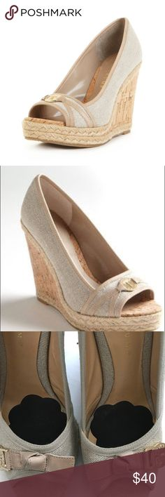 Ivanka Trump Lark Espadrille Wedge Sz 10 Nice and stylish wedges. I added foot petal inserts to provide additional padding. You can peel them off if you do not want them. There are some minor scuffs as shown in the pictures. Ivanka Trump Shoes Espadrilles