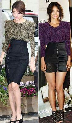 High waist skirts with loose blouse Waist Skirt, High Waisted Skirt, Blouse, Skirts, Inspiration, Ideas, Fashion, Blouse Band, High Waist Skirt