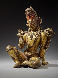 Indra, Chief of the Gods Nepal, 16th century, Sculpture Gilt copper, gemstones, and traces of paint (via LACMA collections)