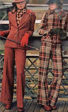 suits vintage fashion color photo print ad models magazine designer pants jacket wool brown plaid tweed red Sierra V Fashion Moda, Look Fashion, Retro Fashion, High Fashion, Fashion Outfits, Womens Fashion, Fashion Vintage, Seventies Fashion, 1970s Fashion For Women