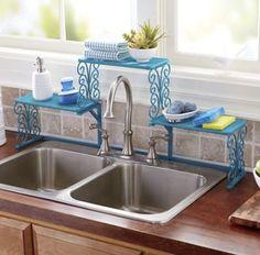 Tall Faucet Scroll Sink Shelf - Blue Kangaroo Kitchen Rack, Smart Kitchen, Kitchen Interior, Kitchen Decor, Kitchen Design, Kitchen Storage Hacks, Kitchen Organization, Sink Shelf, Kitchen Essentials