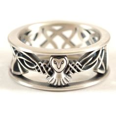 Sterling Silver Owl Wedding Band, Celtic Owl Ring, Mens Wedding Band, Irish… Plus