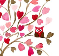 Owl on Hearts Tree 16X11 Archival Print of  original watercolor. Personalized, limited edition, girly, baby girl, nursery decor, pink brown. $30,00, via Etsy.