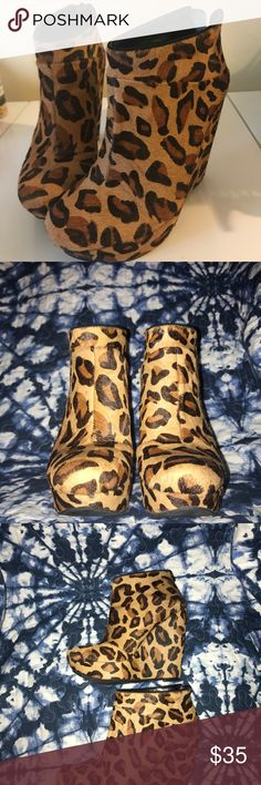 Rachel Roy Leopard Print Wedge Bootie Great condition, no major signs of wear, took pictures of all angles. Please ask any questions. RACHEL Rachel Roy Shoes Ankle Boots & Booties