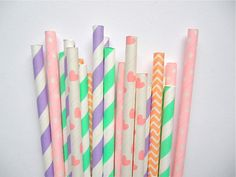 NEW!! Mint, Pink, Purple, and Peach Paper Straws