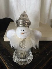 Vintage Silver Salt & Pepper Shaker Medium Snowman with Vintage Rhinestones and wings