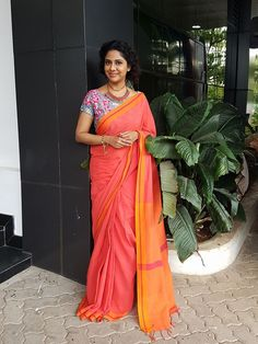 Poornima indrajith in red saree with denim statement blouse.#pranaah
