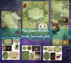 Junk Journal, Your Image, Ephemera, Witch, Cut Outs, Digital, Separate, Green, Journaling