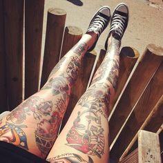 old school leg tats #Legs #Tattoos #Girls
