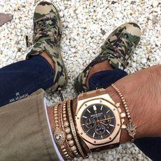 Camo X Gold with Anil Arjandas bracelets