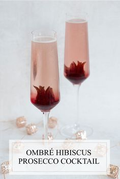 This hibiscus prosecco cocktail is perfect for weddings, bridal showers, bachelorette parties & more...