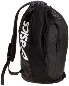ASICS Gear Bag, Black, One Size Polyester Versatile carry-all Drawstring closure and front zippered pocket Padded shoulder straps Duffel Bag, Backpack Bags, Drawstring Backpack, Wrestling Bags, Fancy Water Bottles, Designer Backpacks, Backpacker, Leather Design, Luggage Bags