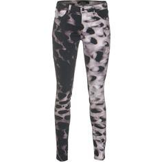 J Brand 801 Mid-Rise Glacier Patterned Skinny Jeans (375 NZD) found on Polyvore