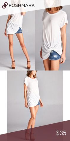 ELLIE side knot short sleeve top - IVORY Super comfy & breathable top. PRICE FIRM Bellanblue Tops Blouses