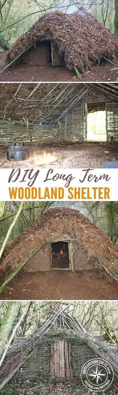 DIY Long Term Woodland Shelter Have you ever given thought to the unlikely chance of having to bug out and you have no where to go? No other safe house? Well this article has over 20 photos to give you an idea how to make a long term habitat with from t Survival Shelter, Survival Life, Survival Food, Homestead Survival, Wilderness Survival, Camping Survival, Outdoor Survival, Survival Prepping, Survival Skills