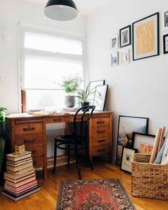 Boho home office / pinossa. Home Office, Office Desk, Valencia, Lifestyle Blog, Interiors, Vintage, Boho, Furniture, Home Decor